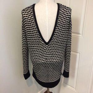 Plunge back sweaterdress tunic sweater deep v neck